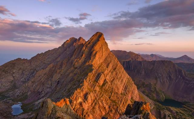 Crestone Peak mountain top at sunset